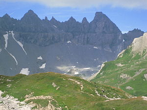 Tschingelhörner - The Tschingelhörner (main summit on the right) with the Martinsloch visible on the right