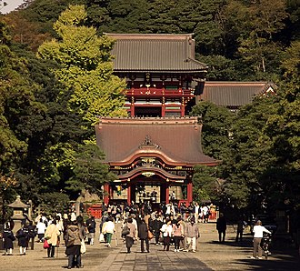 Tsurugaoka Hachimangū - The approach to the Senior Shrine (hongū).