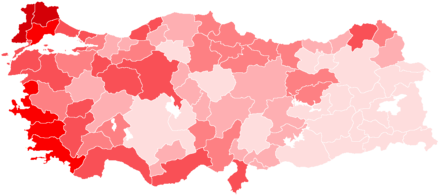 Party's performance in the November 2015 general election by province.