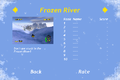 Tux Racer for Android screenshot, select course menu (Frozen River).png