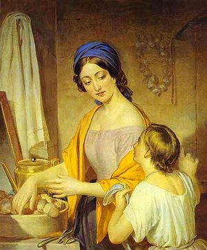 Housewife - Young Housewife, Oil on canvas, by Alexey Tyranov (1801-1859), in the Russian Museum, St Petersburg, Russia