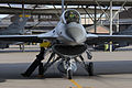 U.S. Air Force Airman 1st Class Jennifer Douglas, left, a crew chief with the 4th Fighter Squadron, rests on the wheel of an F-16 Fighting Falcon aircraft at Hill Air Force Base, Utah, Oct. 16, 2013 131016-F-SP601-119.jpg
