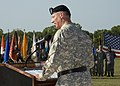 U.S. Army Brig. Gen. Alan R. Lynn, commander, of 311th Signal Command speaks to the audience, during Signal Center commanding general change of command ceremony, in Fort Gordon, Ga., July 21, 2010 100721-A-NF756-037.jpg
