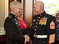 U.S. Marine Corps Gen. James F. Amos, left, the commandant of the Marine Corps and the host of the Evening Parade, greets Sgt. Maj. Micheal P. Barrett, the sergeant major of the Marine Corps, before the Evening 130531-M-KS211-043.jpg
