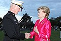 U.S. Marine Corps Lt. Gen. Richard T. Tryon, left, the deputy commandant for plans, policies and operations, speaks with U.S. Rep. Madeleine Z. Bordallo 120605-M-KS211-532.jpg
