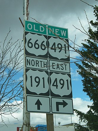 U.S. Route 491 - Old and new route number at the intersection with US 191 in Monticello