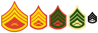 "United States Marine Corps rank insignia - L to R: Evening Dress coat, Dress Blue coat, Service Dress coat, Service Dress ""B"" and ""C"" shirt, and combat utility pin-on insignia for a Staff Sergeant"
