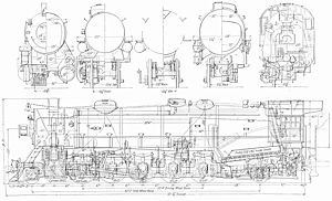 Southern valve gear - USRA Heavy Santa Fe diagram showing Southern valve gear