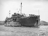 USS Argonne (AG-31) underway in San Francisco Bay, in 1945-1946 (NH 98750)