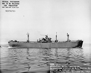 USS Arided (AK-73) - Broadside view of USS Arided (AK-73) off Mare Island, 26 November 1942.