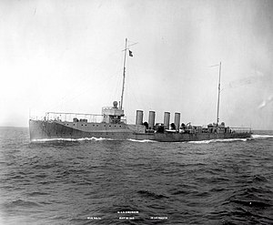 USS Ericsson (DD-56), Steaming at 19.93 knots during Run No. 10 of builder's trials, 18 May 1915. Her armament has not yet been installed.