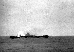 USS Hancock (CV-19) - Hancock being hit by a kamikaze