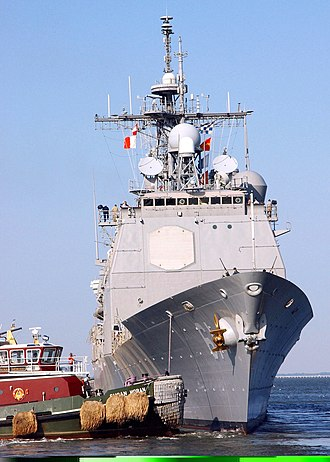 Effects of Hurricane Isabel in Virginia - USS ''Monterey'' leaving port prior to arrival of Isabel