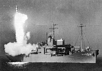 USNS Observation Island (T-AGM-23) - Observation Island firing 28-foot Polaris test missile.