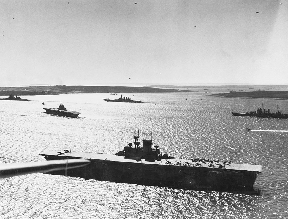 USS Wasp (CV-7) with other warships at Scapa Flow in April 1942