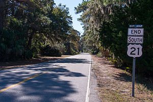 U.S. Route 21 - End of US 21 at Hunting Island, SC