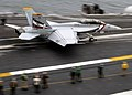 """US Navy 050614-N-9079D-024 An F-A-18F Super Hornet, assigned to the """"Bounty Hunters"""" of Strike Fighter Squadron Two (VFA-2), launches from one of the four steam powered catapults.jpg"""