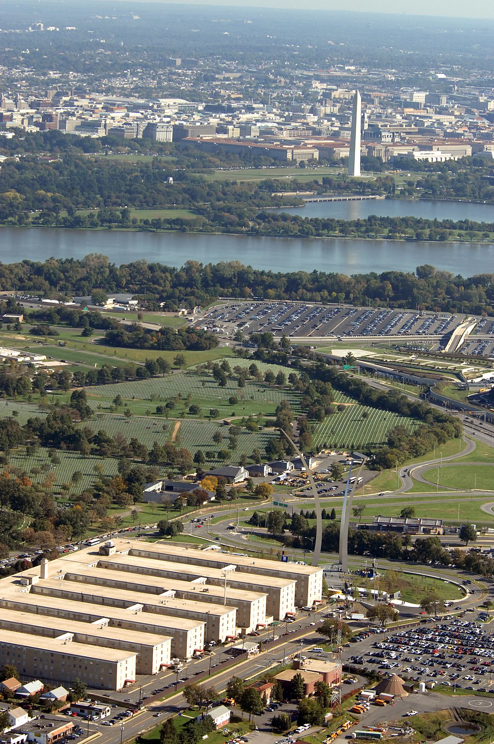 US Navy 061013-F-3500C-443 View over the U.S. Navy Annex, showing the completed U.S. Air Force memorial