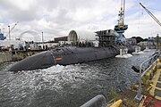US Navy 110804-N-TT535-012 Shipyard workers at Portsmouth Naval Shipyard successfully undock the Los Angeles-class submarine USS San Juan (SSN 751)