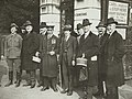 US Senators carrying articles purchased from blind soldiers who made them here on October 27, 1917- Commissions - To Foreign Nations - Legislative - American Senators visit St. Dunstan's - NARA - 26432594 (cropped).jpg
