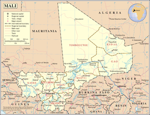 An enlargeable map of the Republic of Mali