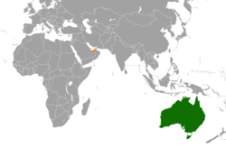Map indicating locations of United Arab Emirates and Australia