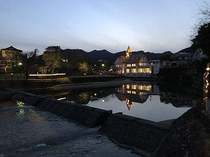 嬉野温泉、シーボルトの湯の夕景