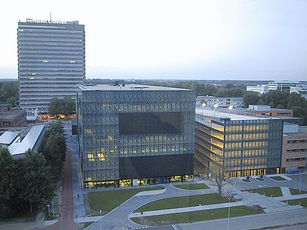View on the Science Park campus of Utrecht University. The building in the centre is the library. Utrecht-Uithof, from CambridgeLaan 01.jpg