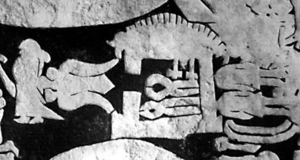 Wayland the Smith - Völund's smithy in the centre, Niðhad's daughter to the left, and Niðhad's dead sons hidden to the right of the smithy. Between the girl and the smithy, Völund can be seen in an eagle fetch flying away. From the Ardre image stone VIII.