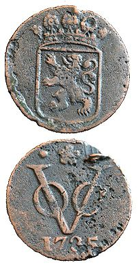 Two sides of a duit, a coin minted in 1735 by ...