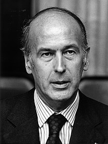 black-and-white portrait of a 49-year-old Giscard d'Estaing