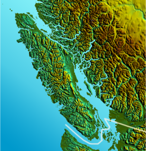 Shaded Relief map of Vancouver Island