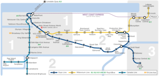 SkyTrain (Vancouver) Automated rapid transit system in Metro Vancouver, Canada