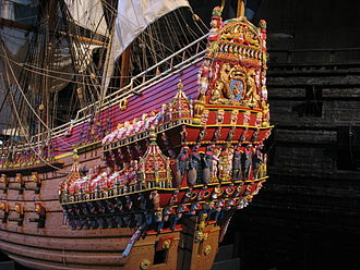 Quarterdeck - A model of the richly decorated stern and quarterdeck of Vasa, a sailing warship built in the late 1620s