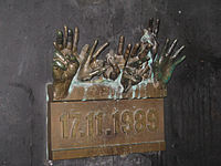 Velvet Revolution monument at Národní street-Prague.jpg