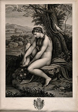 Venus pulling a thorn from her foot in beautiful countryside Wellcome V0016585