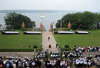 Ceremonial oath of the Bundeswehr - Cadets of the German navy in formation for their ceremonial pledge in front of the German naval academy (Marineschule Mürwik)