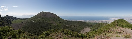 Mount Vesuvius, as seen from the Mount Somma. Vesuvius from Monte Somma (Panorama II).jpg