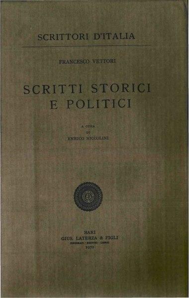 File:Vettori, francesco – Scritti storici e politici, 1972 – BEIC 1959635.pdf