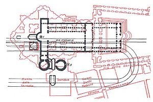 Via Cornelia - Former generally accepted plan of Vatican topography, now the locations of Via Cornelia and Nero's Circus on this plan are known to be inaccurate