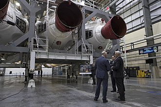 United Launch Alliance - CEO Tory Bruno (left), Robert M. Lightfoot Jr., Acting Administrator of NASA (middle), and Mike Pence, Vice President of the United States (right), touring ULA's Horizontal Integration Facility at Florida's Cape Canaveral Air Force Station in February 2018