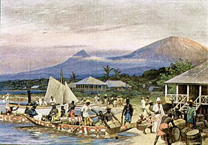 Limbe, Cameroon - 1908 painting by R. Hellgrewe of the town when it was known as Victoria
