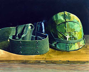 Chaplain Corps (United States Army) - Chaplain Martain's Bible by Stephen H. Sheldon, U. S. Army Vietnam Combat Artists Team III (CAT III 1967)