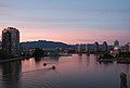 View of False Creek from the Cambie Street Bridge during civil twilight in Vancouver, BC (DSCF7477).jpg