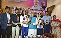Vijay Goel felicitated the Badminton Players Saina Nehwal, P.V Sindhu, Srikanth Kidambi and their coaches P. Gopichand and Vimal Kumar, at a function, in New Delhi.jpg