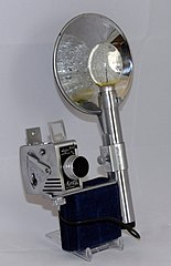 Vintage Minute 16 Sub-Miniature Viewfinder Camera And Flash Unit By Universal Camera Corporation, Made In USA, Uses 16mm Perforated Film In Reloadable Cartridges, Produced From 1949 - 1952 (17223611815).jpg