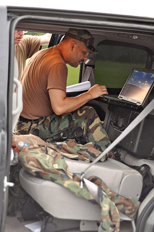 Virginia Defense Force - A member of the Virginia Defense Force Incident Management Assistance Team in Onancock prepares for possible duty in response to Hurricane Irene.