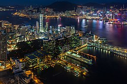 Tsim Sha Tsui waterfront, Victoria Harbour from Sky100