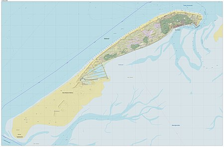Topographic map of the island of Vlieland, as per December 2014.