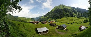 Austrian rural area of Schoppernau in summer